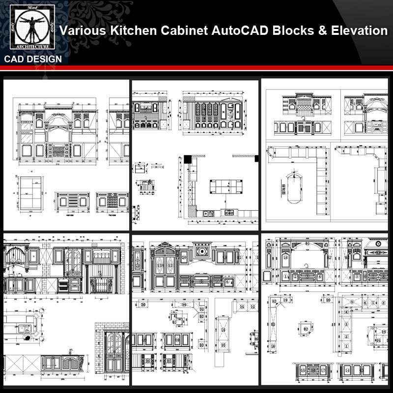Various Kitchen Cabinet Autocad Blocks Elevation V 3 All Kinds Of Kitchen Cabinet Cad Drawings Bundle Free Cad Download World Download Cad Drawings